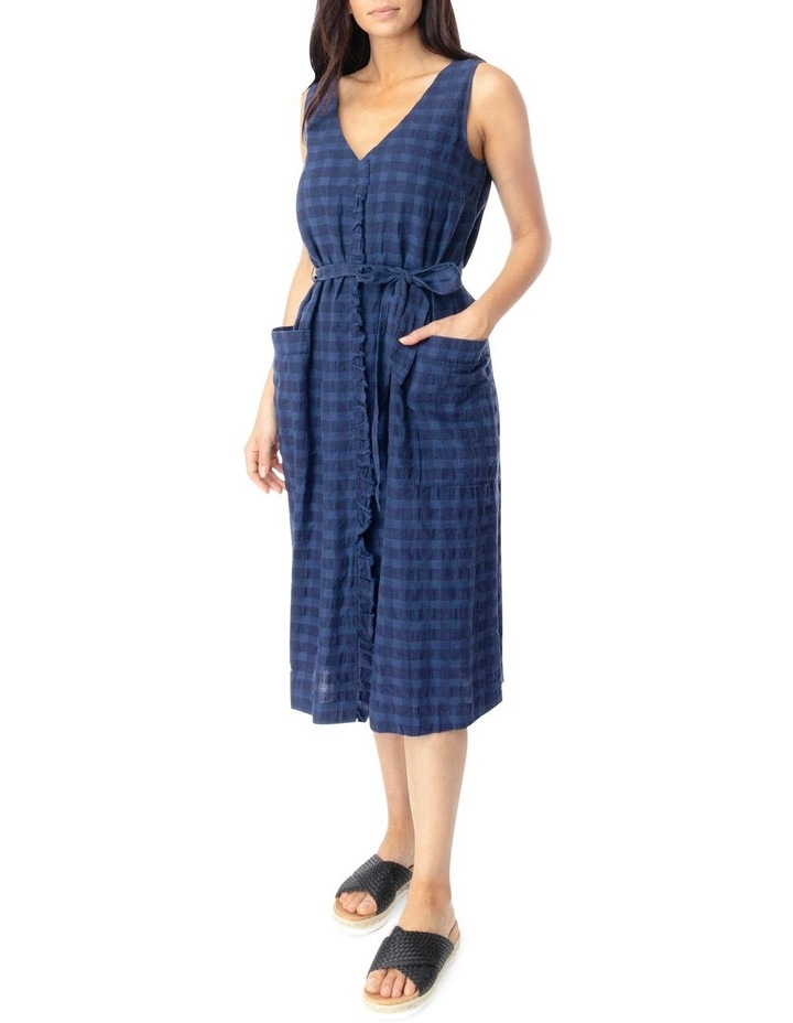 Slv Frill Front Linen Textured Dress image 2