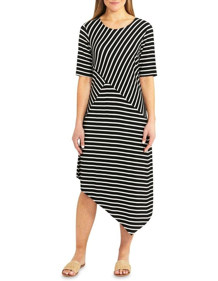 Black/Flax Stripe Asymmetrical Dress image 1