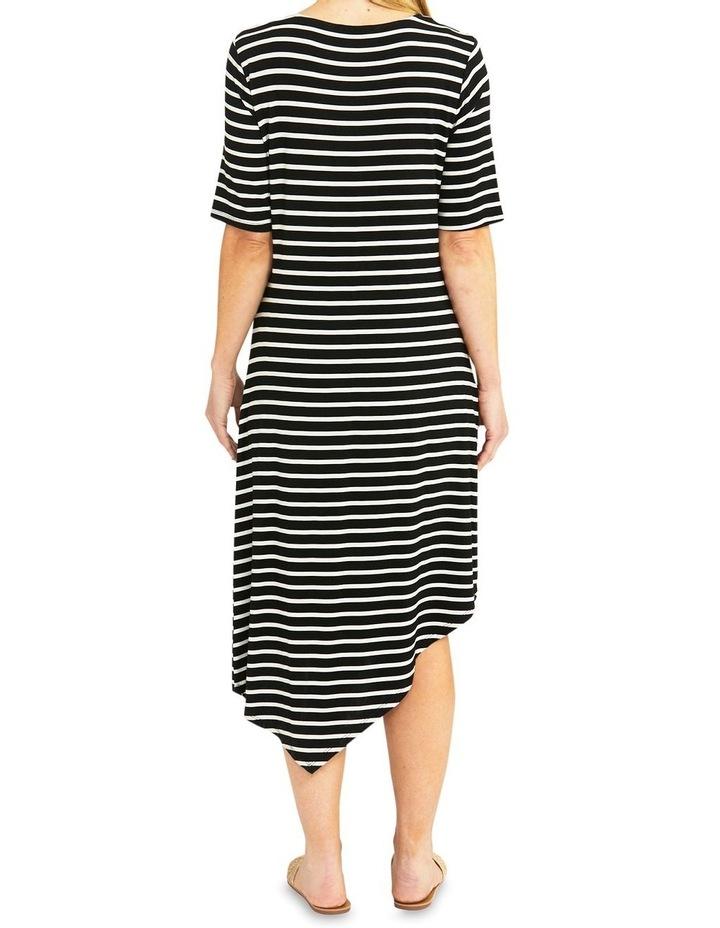 Black/Flax Stripe Asymmetrical Dress image 2