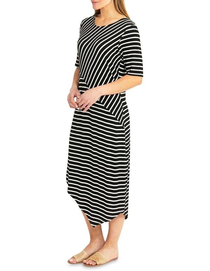 Black/Flax Stripe Asymmetrical Dress image 3