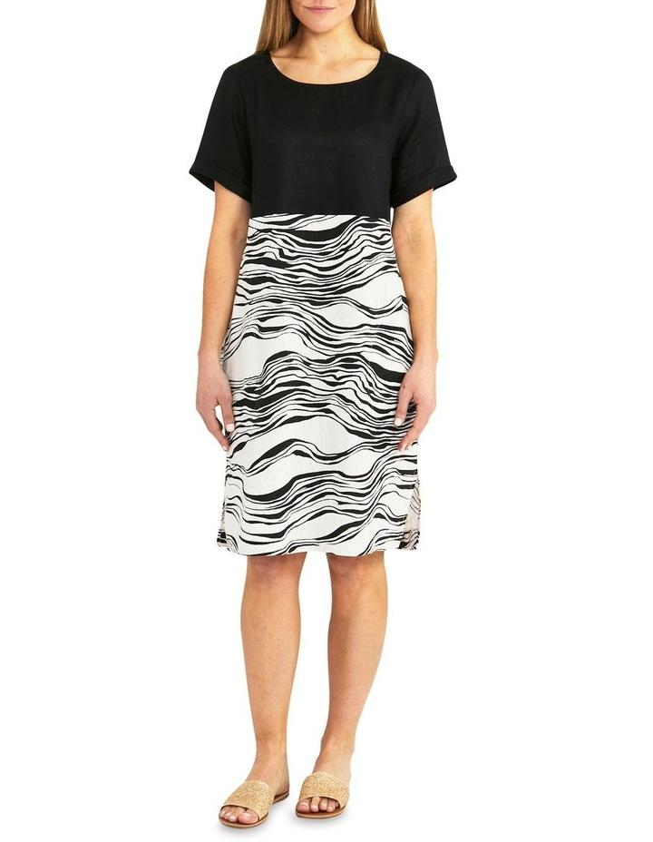 Spliced Wave Print Dress Black/Flax image 1