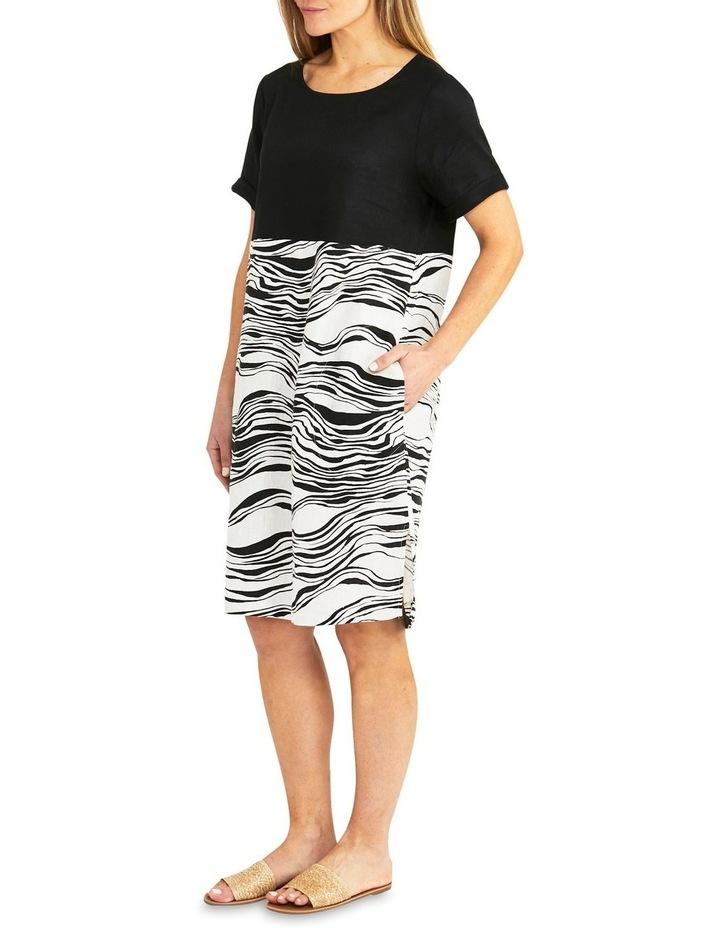Spliced Wave Print Dress Black/Flax image 3