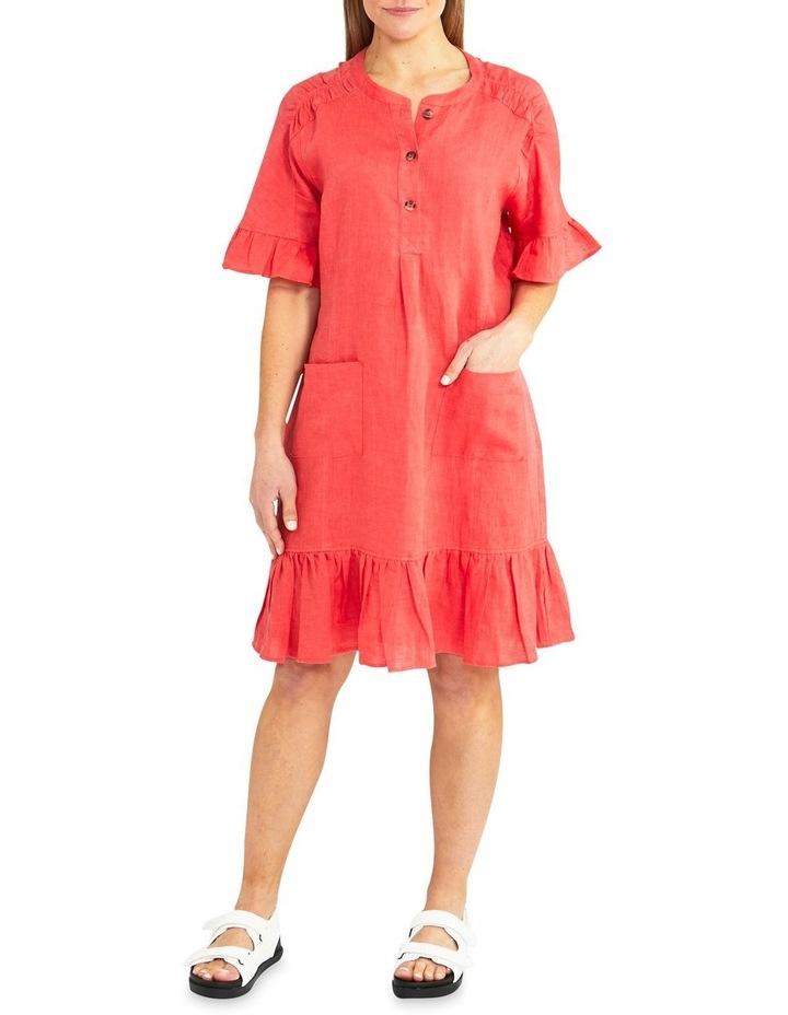 Elbow Sleeve Ruffle Hem Linen Dress image 1