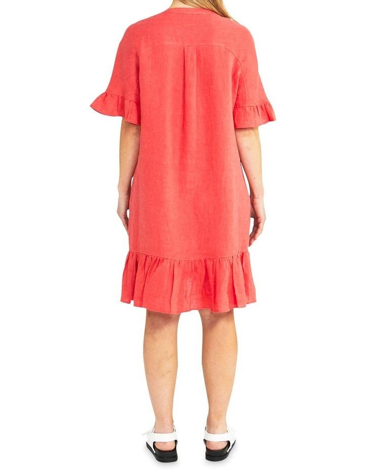 Elbow Sleeve Ruffle Hem Linen Dress image 2