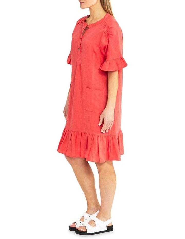 Elbow Sleeve Ruffle Hem Linen Dress image 3