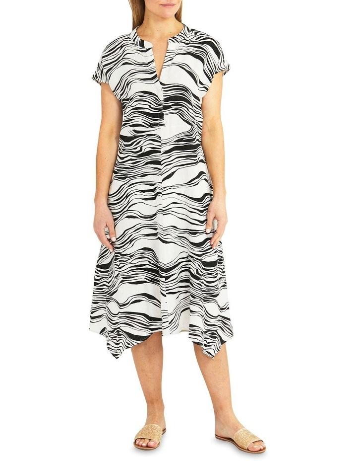 Flax/Black Wave Print Midi Dress image 1
