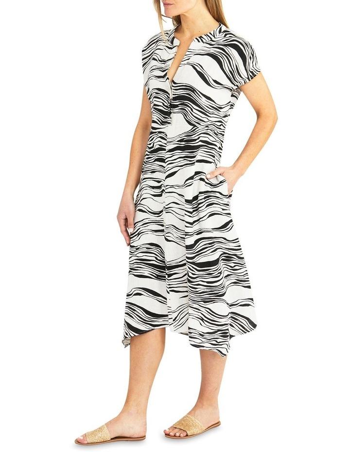 Flax/Black Wave Print Midi Dress image 3