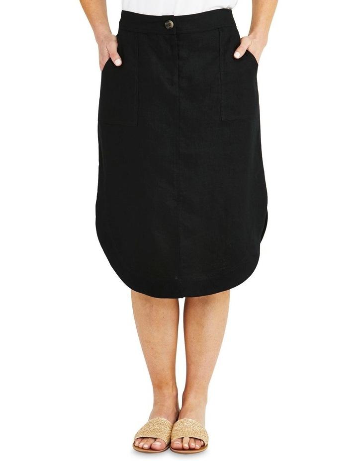 Curved Hem Black Linen Skirt image 1