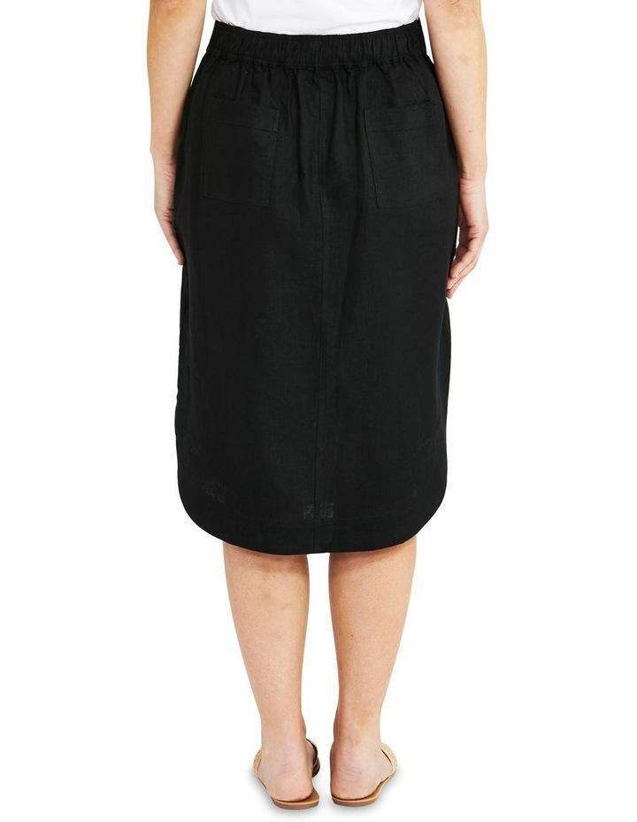 Curved Hem Black Linen Skirt image 2