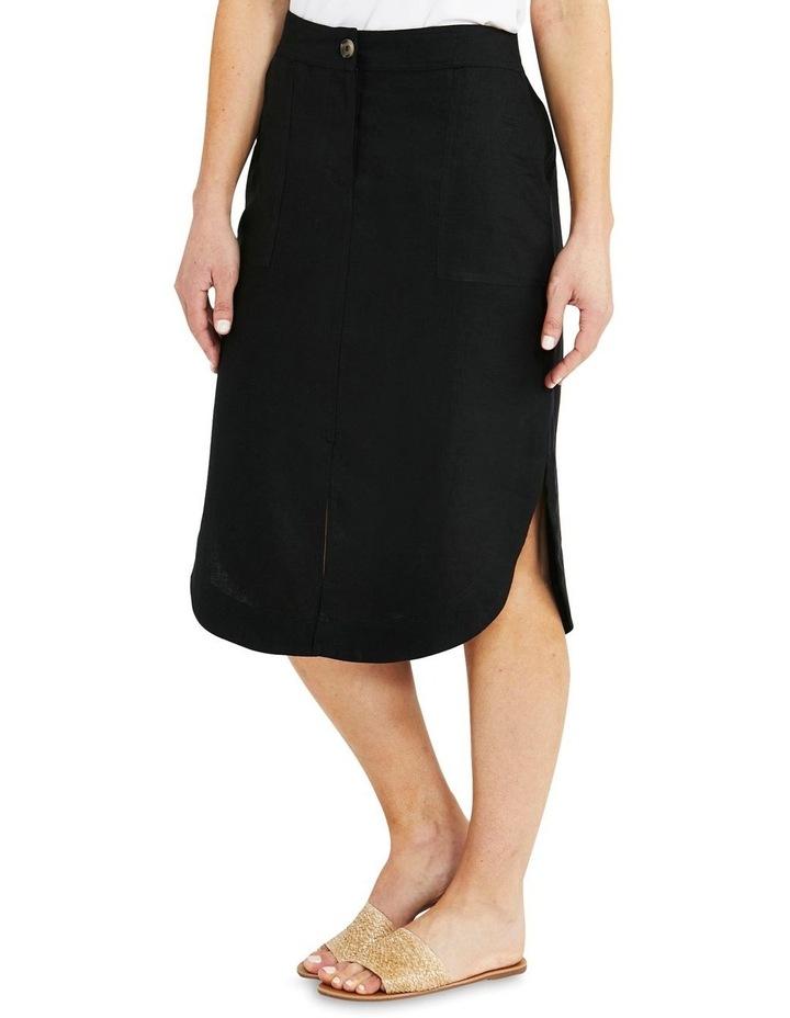 Curved Hem Black Linen Skirt image 3
