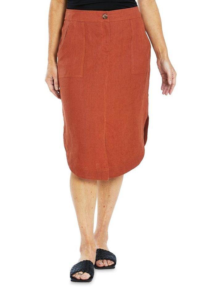 Curved Hem Linen Skirt image 1