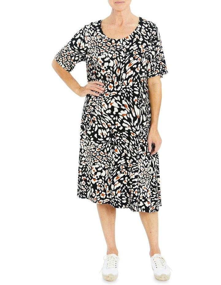 Short Sleeve Abstract Animal Print Dress image 1