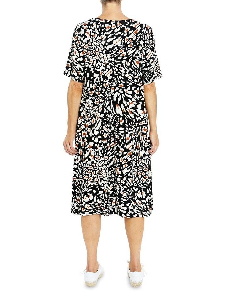 Short Sleeve Abstract Animal Print Dress image 2
