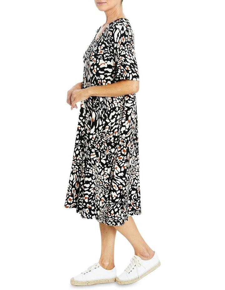 Short Sleeve Abstract Animal Print Dress image 4