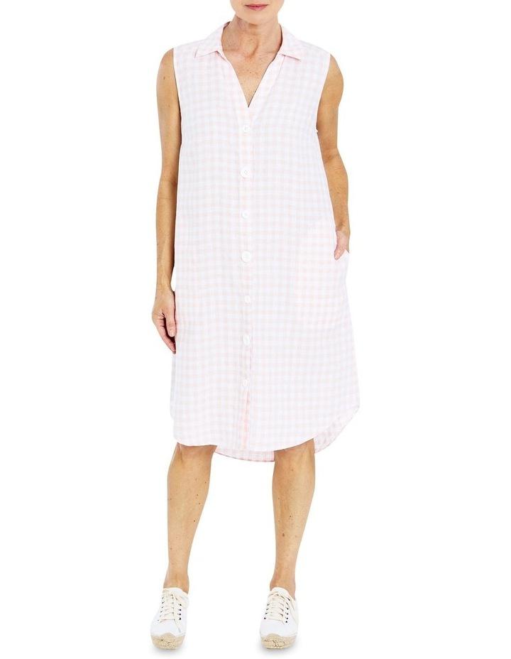 Sleeveless Gingham Shirt Dress image 1
