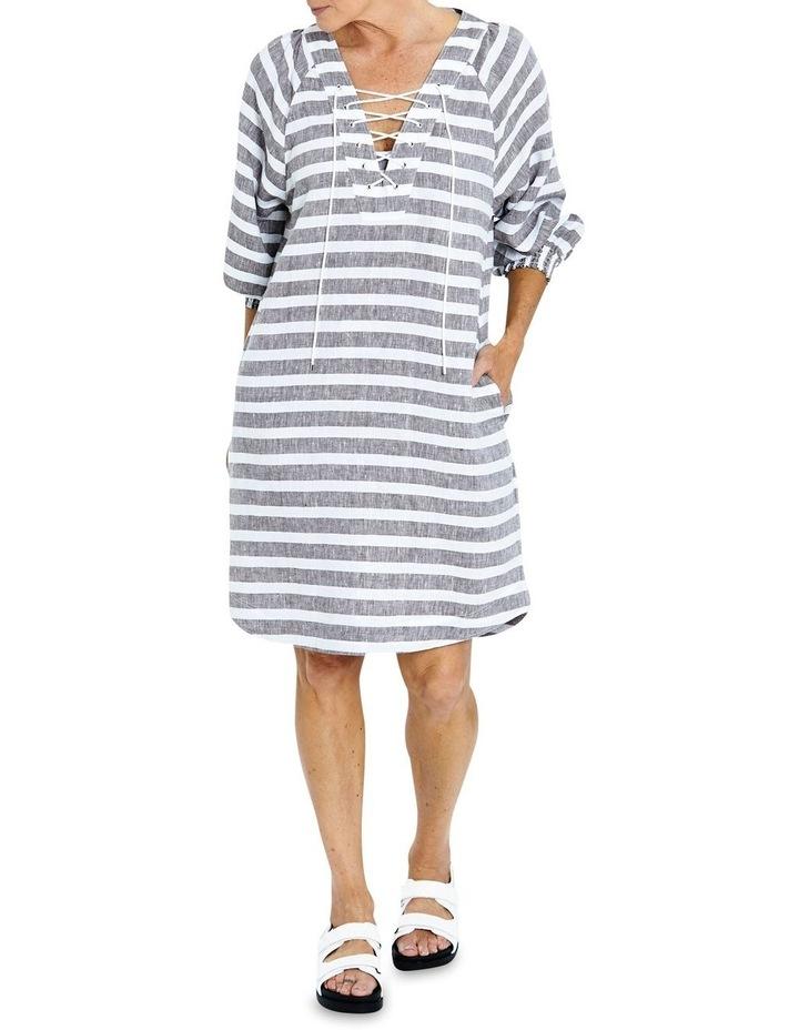 Stripe Linen Lace Up Dress image 1