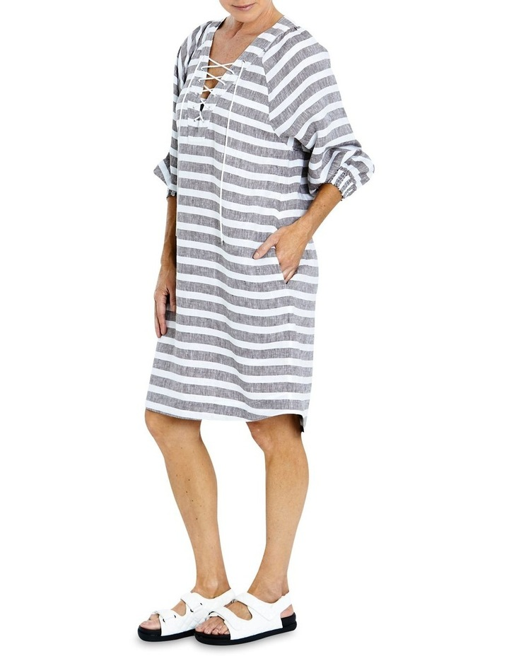 Stripe Linen Lace Up Dress image 3
