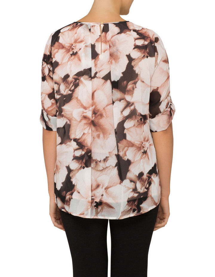 Long Sleeve Printed Peasant Blouse image 2