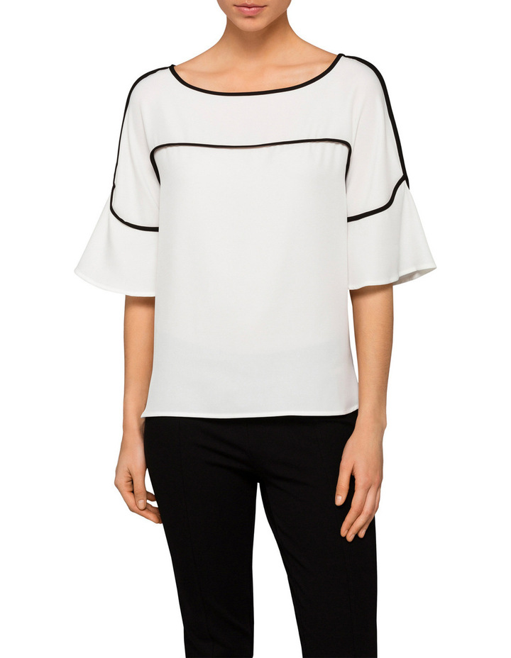 Flute Sleeve Top with Piping image 1