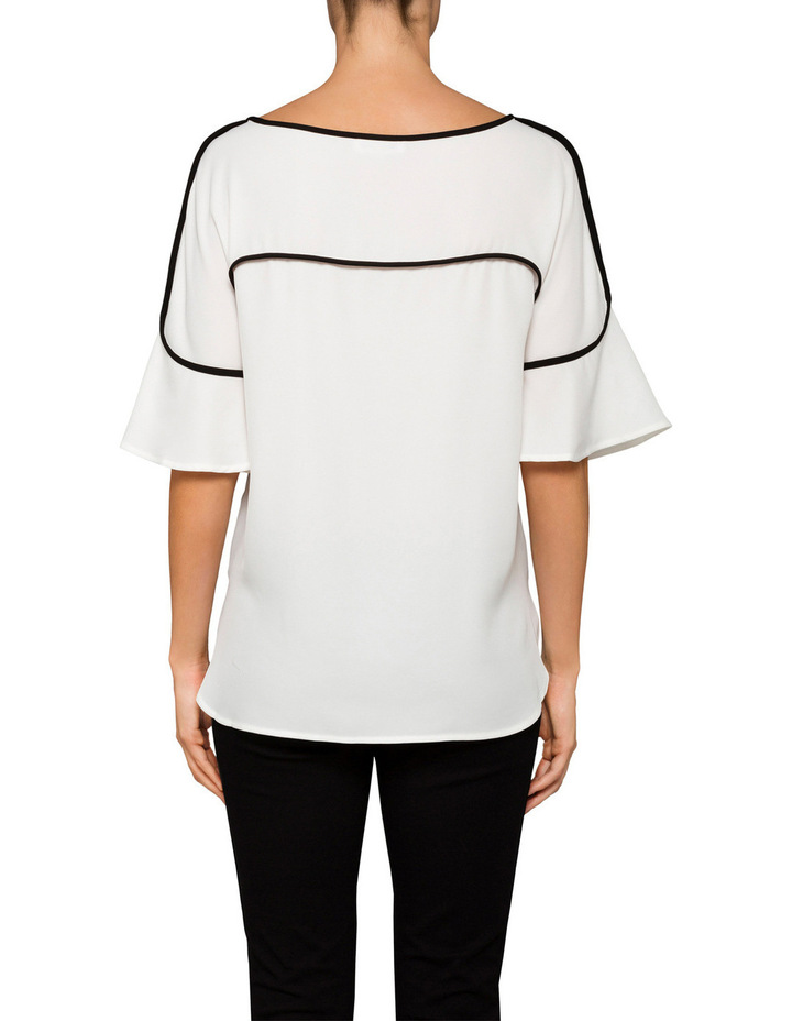 Flute Sleeve Top with Piping image 2