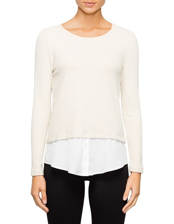 Lurex Knit Top with Decorate Shirt Detail image 1