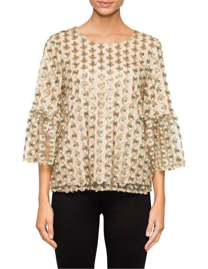 Embroidery Top with Bell Sleeve image 1