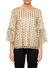Calvin Klein White - Embroidery Top with Bell Sleeve