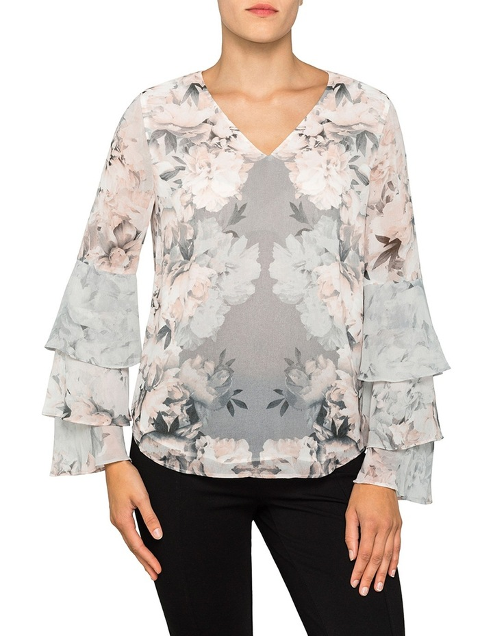 Printed V Neck Tiered Sleeve Top image 1