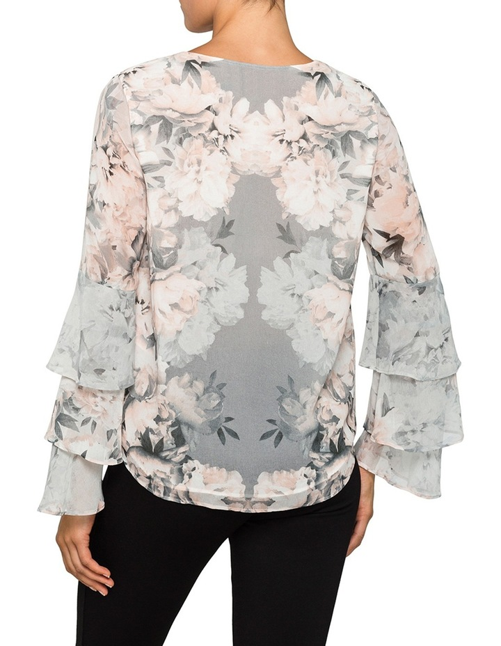 Printed V Neck Tiered Sleeve Top image 2