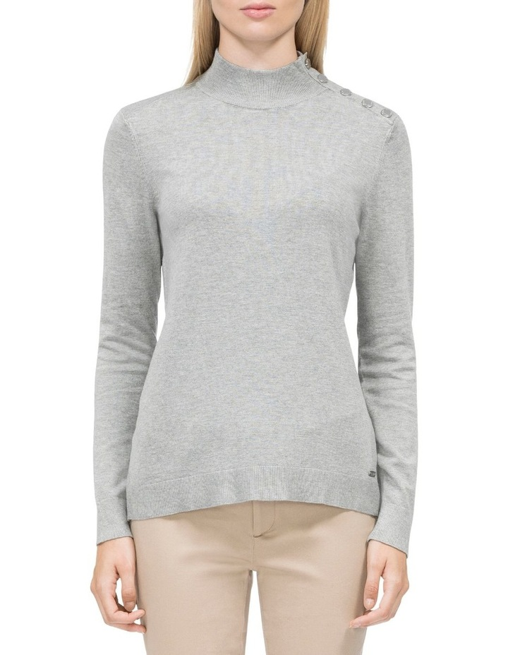 Mock Neck Button Pullover Sweater image 1