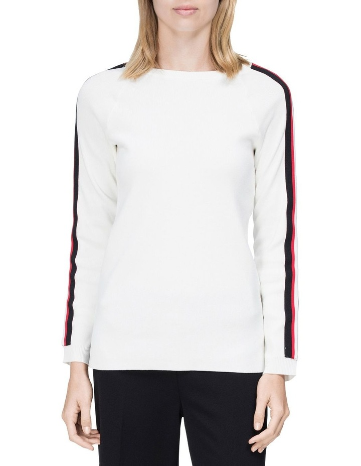crew neck sweater with stripes image 1