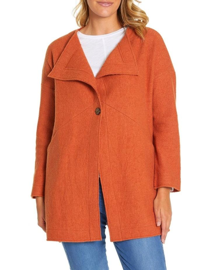 Long Sleeve Boiled Wool Coat image 1