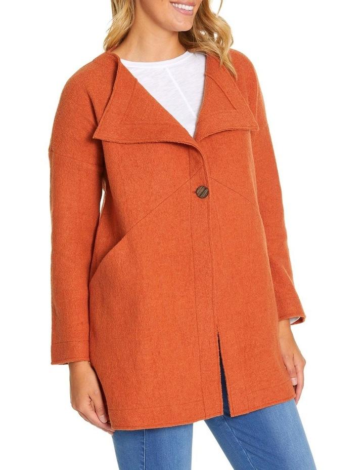 Long Sleeve Boiled Wool Coat image 2