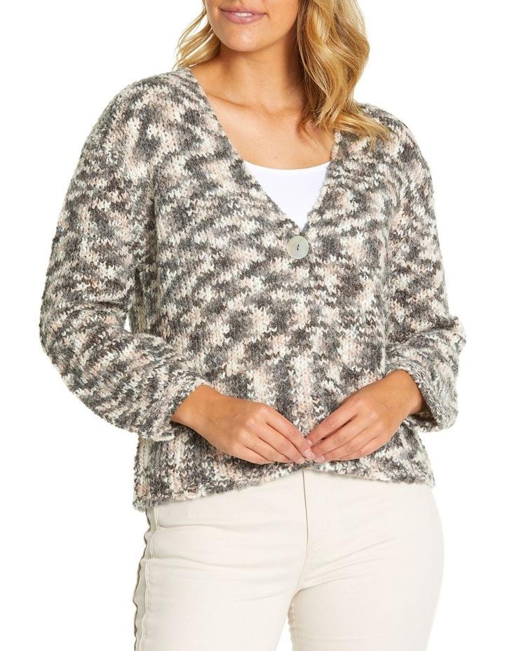 Long Sleeve Mix Knit Cardi image 1