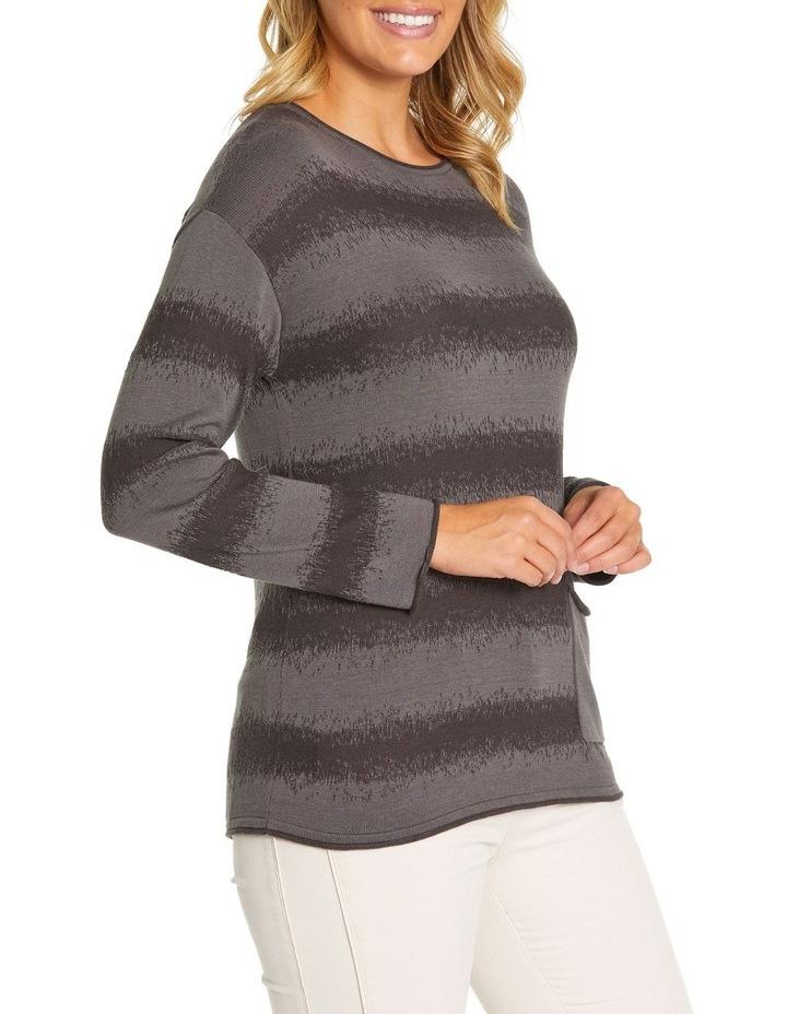 Long Sleeve Wave Knit Sweater image 2