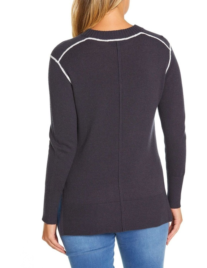 Long Sleeve Contrast Stitch Sweater image 3