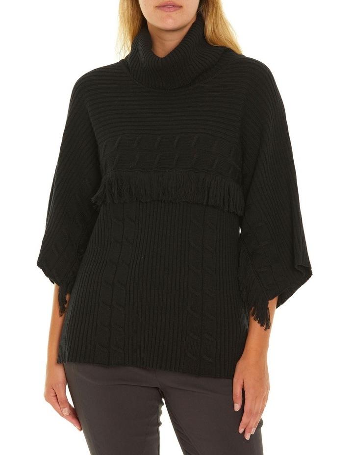 3/4 Sleeve Fringe Sweater image 1