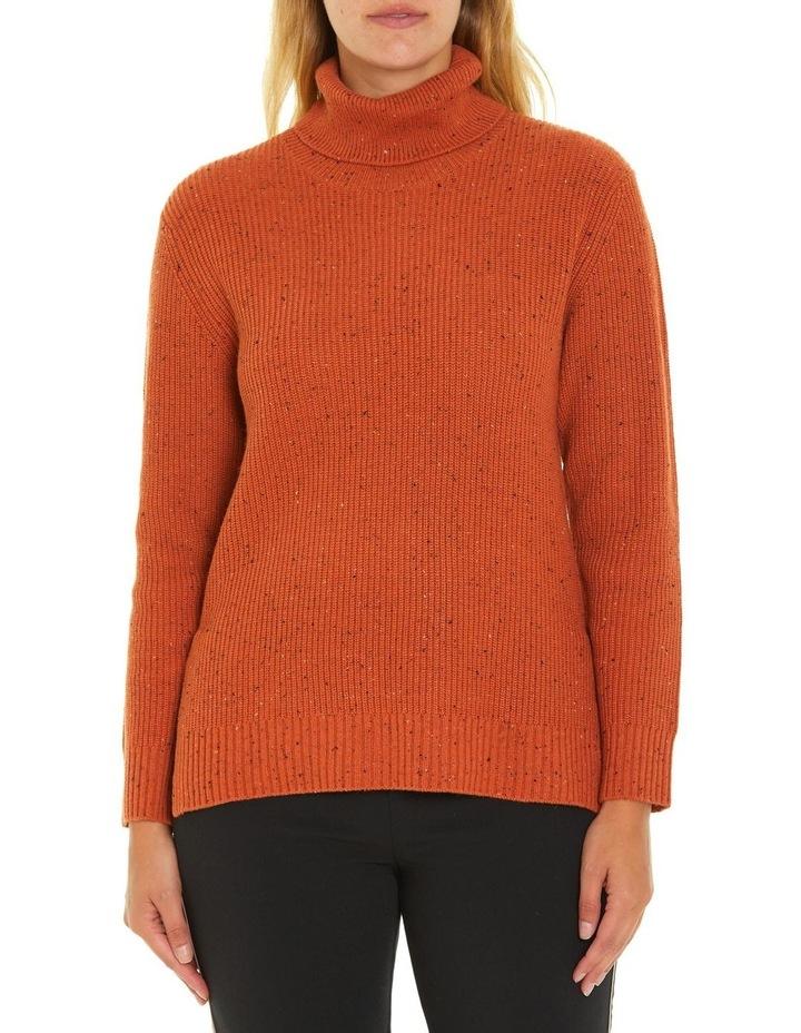 Long Sleeve Fleck Step Hem Sweater image 1