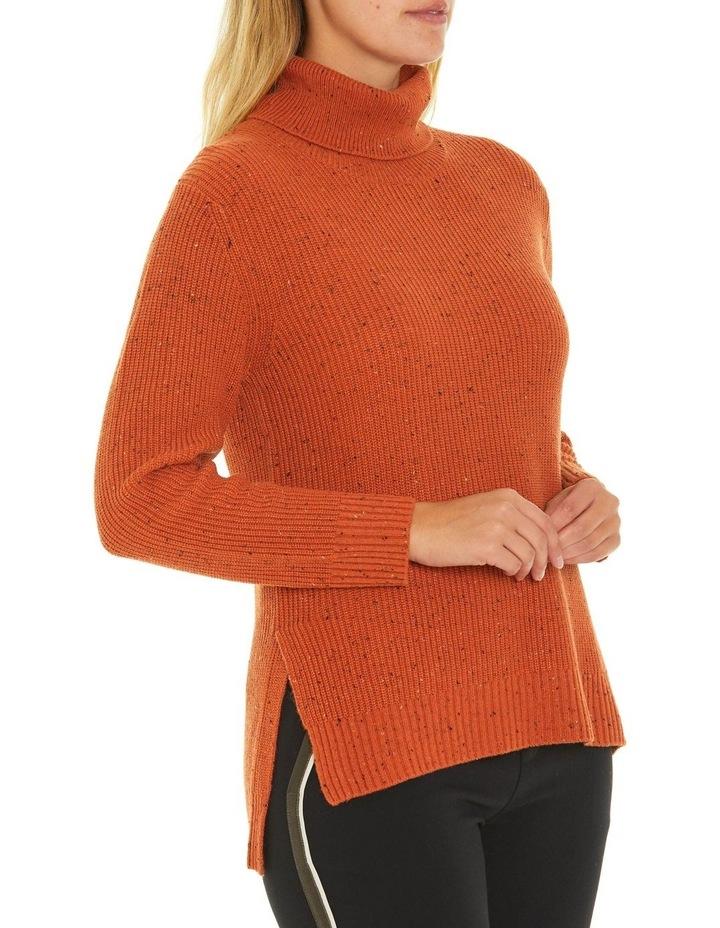 Long Sleeve Fleck Step Hem Sweater image 2