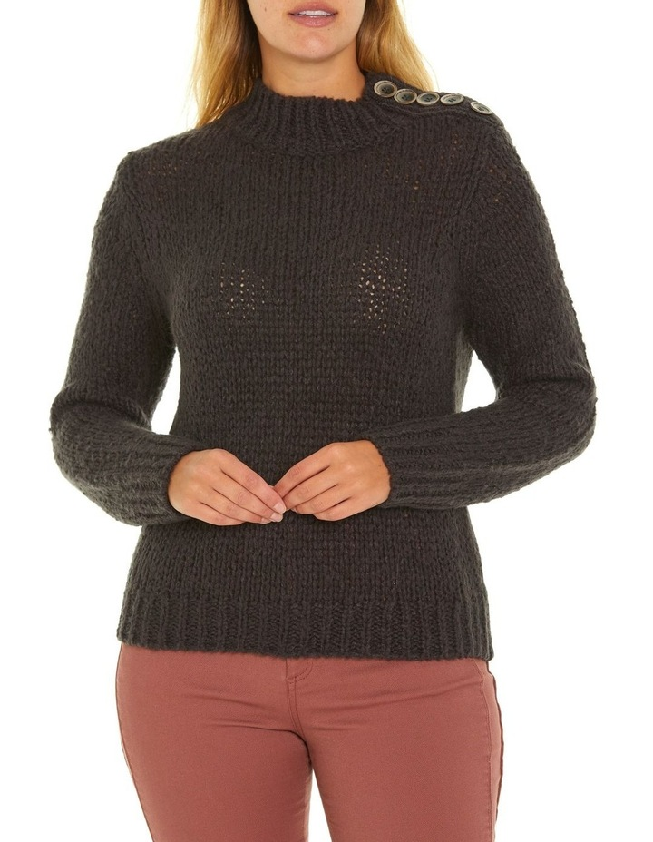 Long Sleeve Button Neck Sweater image 1