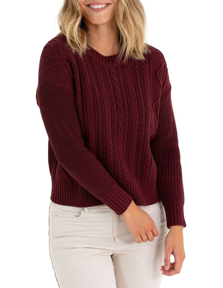 Long Sleeve Cable Knit Sweater image 1
