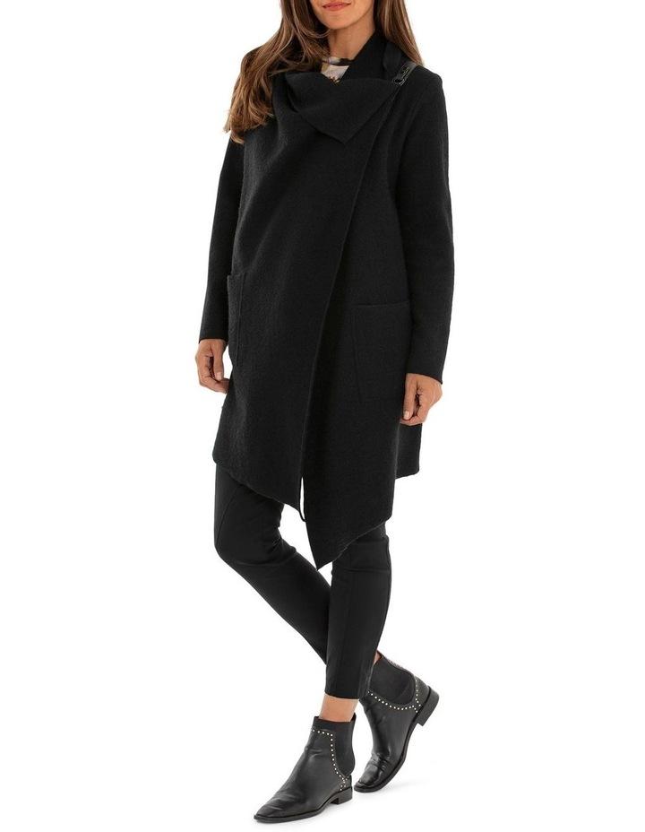 Long Sleeve Wrap Boiled Wool Coat image 3