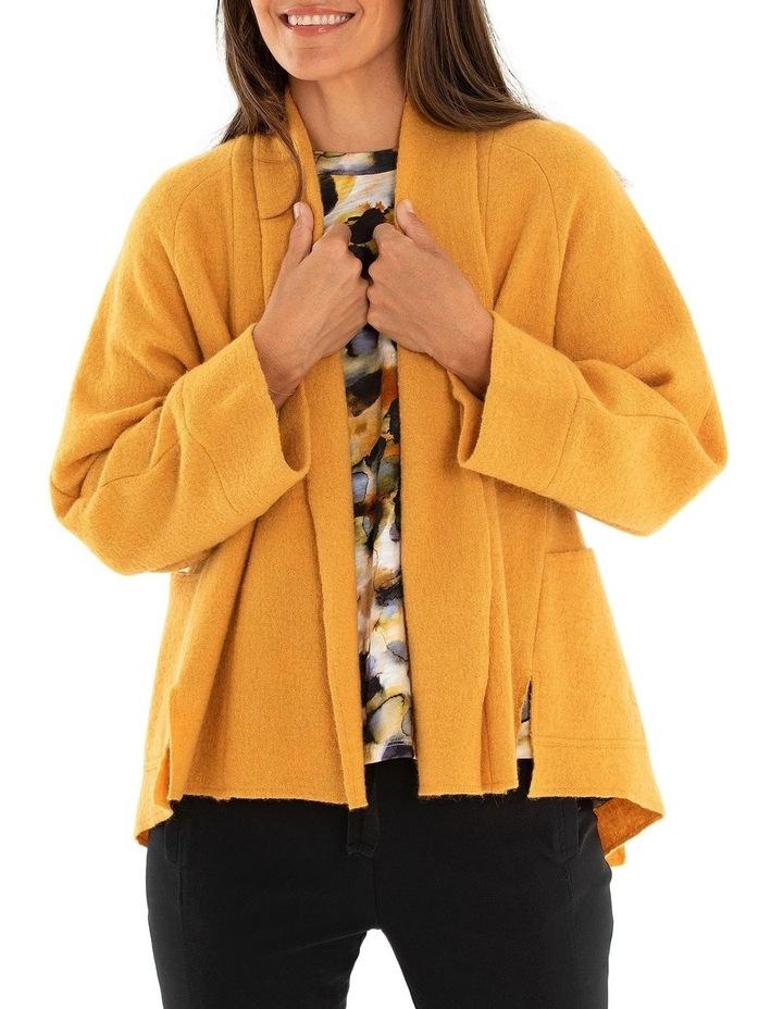 Long Sleeve Cropped Boiled Wool Coat image 1