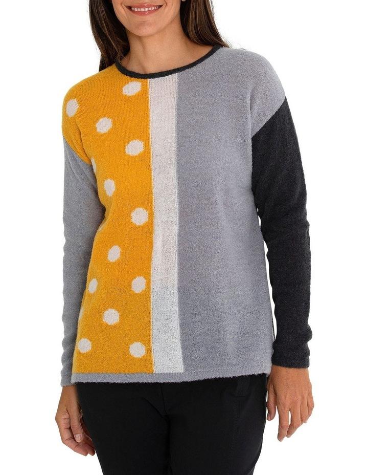 Long Sleeve Spliced Spot Sweater image 1