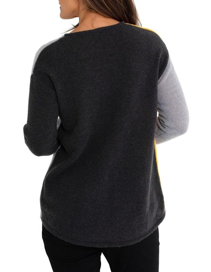 Long Sleeve Spliced Spot Sweater image 2
