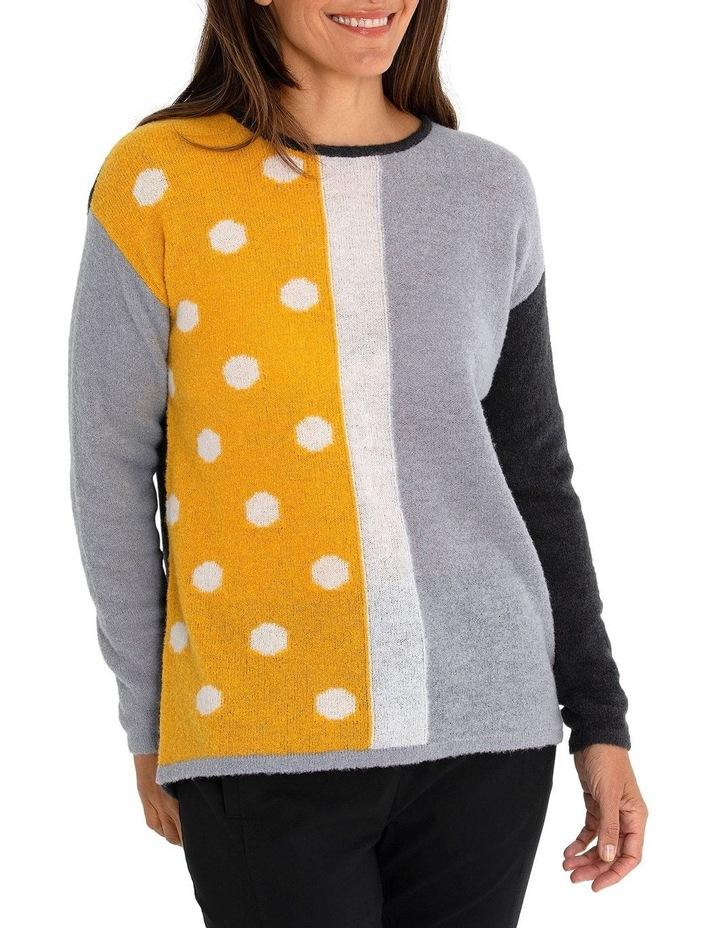 Long Sleeve Spliced Spot Sweater image 3
