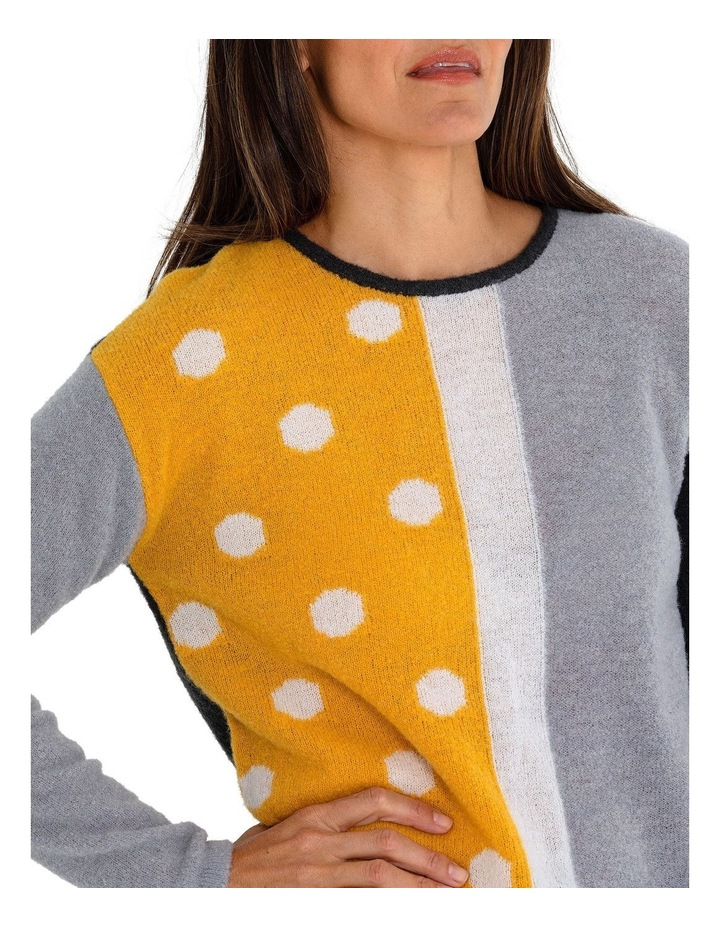 Long Sleeve Spliced Spot Sweater image 4