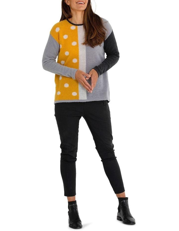 Long Sleeve Spliced Spot Sweater image 5