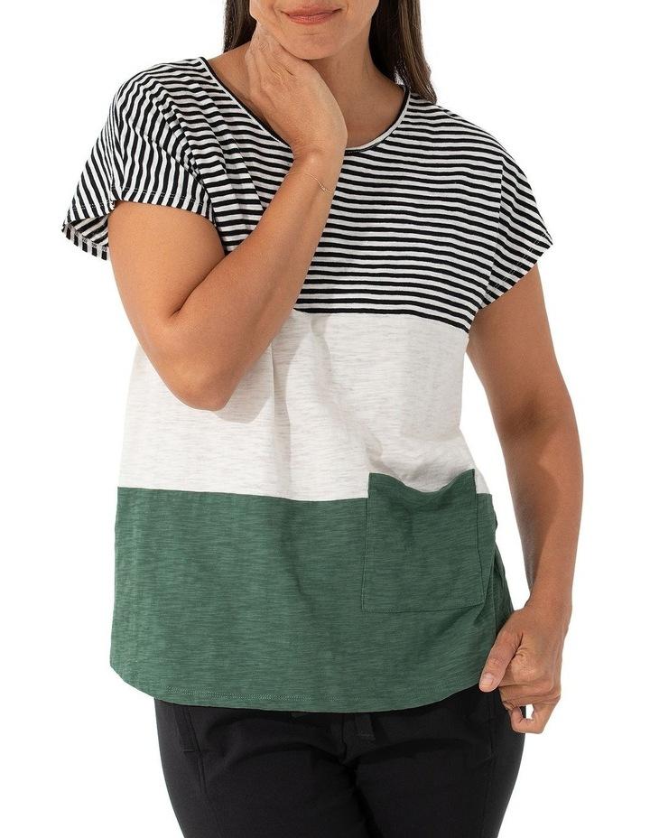 Short Sleeve Pigment Stripe Tee image 1