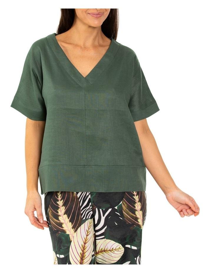 Elbow Boxy Linen Top Seaweed image 1